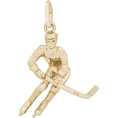 Gold Plate Male Hockey Player Charm by Rembrandt Charms