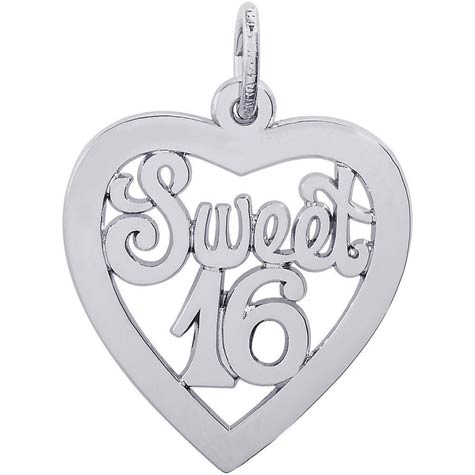 14K White Gold Sweet Sixteen Open Heart Charm by Rembrandt Charms