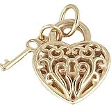 14k Gold Filigree Puff Heart and Key by Rembrandt Charms