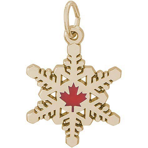 14k Gold Snowflake with Red Maple Leaf Charm by Rembrandt Charms
