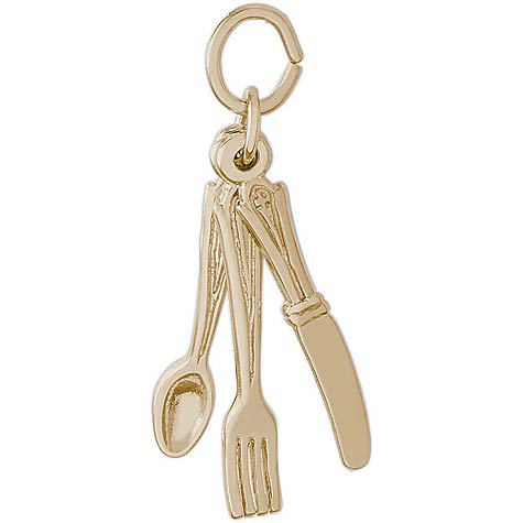 14K Gold Eating Utensils Charm by Rembrandt Charms