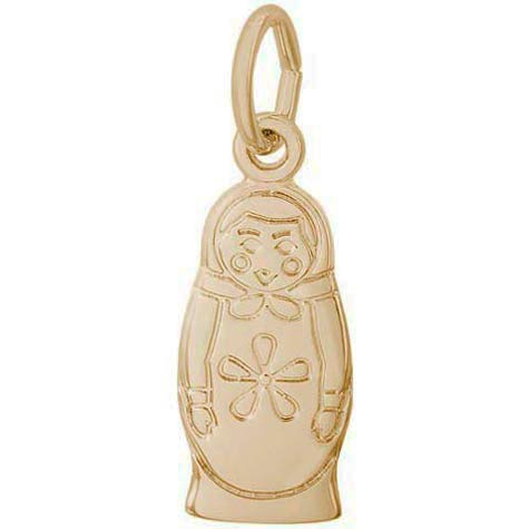 14K Gold Matryoshka Doll Accent Charm by Rembrandt Charms