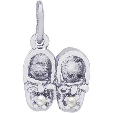 Sterling Silver Pearl Baby Booties Accent Charm by Rembrandt Charms