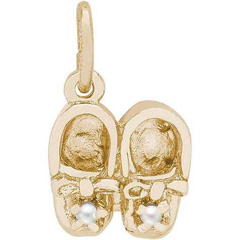 14K Gold Pearl Baby Booties Accent Charm by Rembrandt Charms