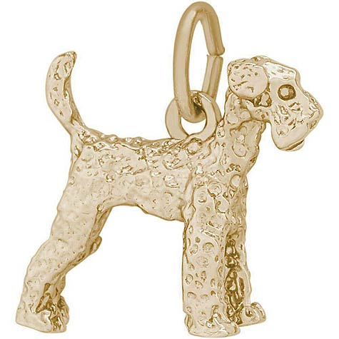 Gold Plate Airedale Dog Charm by Rembrandt Charms