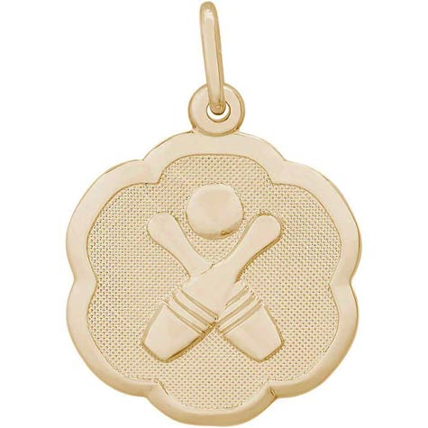 14K Gold Bowling Scalloped Disc Charm by Rembrandt Charms