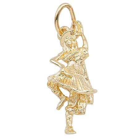 Gold Plate Highland Dancer Charm by Rembrandt Charms