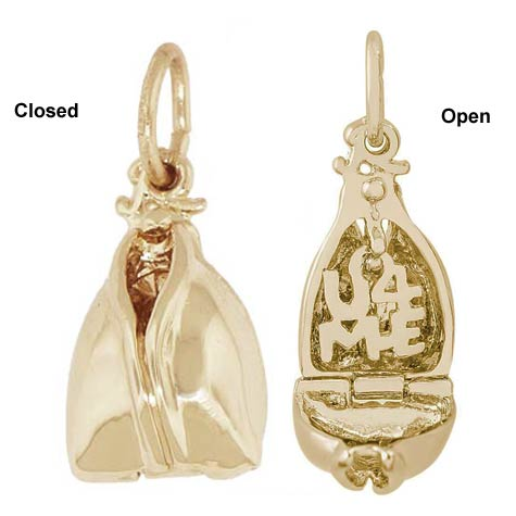 10K Gold Fortune Cookie Charm by Rembrandt Charms