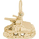Gold Plate Army Tank Charm by Rembrandt Charms
