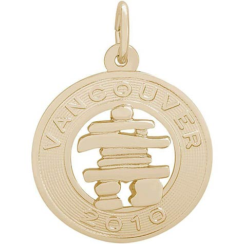 14K Gold Vancouver Inukshuk Charm 2010 by Rembrandt Charms