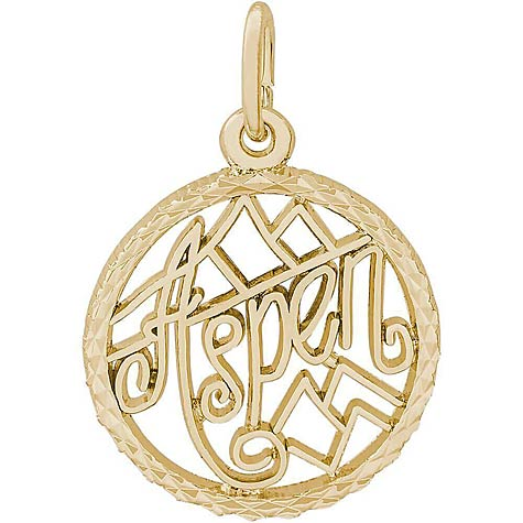 14K Gold Aspen, Colorado Faceted Charm by Rembrandt Charms