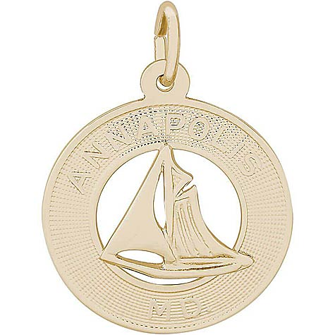 14K Gold Annapolis Sailboat Ring Charm by Rembrandt Charms