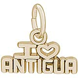 Gold Plate I Love Antigua Charm by Rembrandt Charms