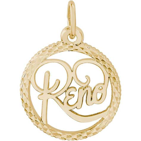 14K Gold Reno Nevada Faceted Charm by Rembrandt Charms