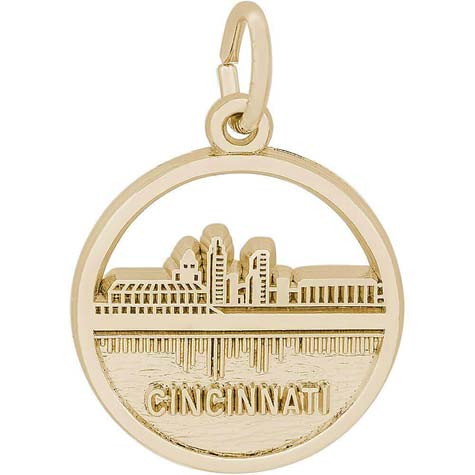 14K Gold Cincinnati Skyline Charm by Rembrandt Charms
