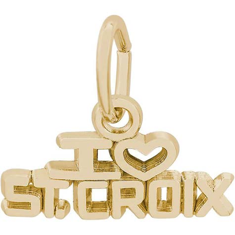 14K Gold I Love St. Croix Charm by Rembrandt Charms