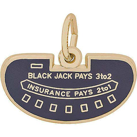 14K Gold Black Jack Table Charm by Rembrandt Charms