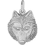 14K White Gold Wolf Head Charm by Rembrandt Charms