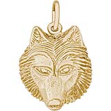 14K Gold Wolf Head Charm by Rembrandt Charms