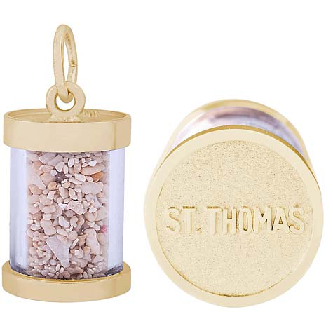 14K Gold St Thomas Is Sand Capsule Charm by Rembrandt Charms