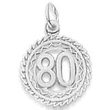 14K White Gold Number 80 Charm by Rembrandt Charms