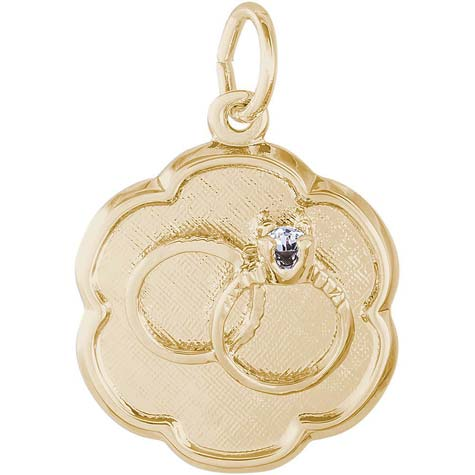 14K Gold Wedding Rings Scalloped Disc by Rembrandt Charms