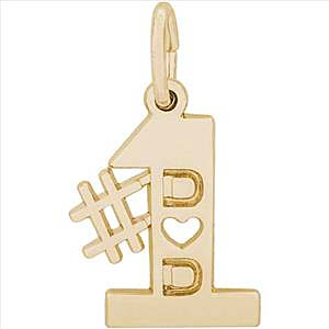 Gold Plated Number One Dad Charm by Rembrandt Charms