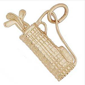14K Gold Plaid Golf Bag Charm by Rembrandt Charms
