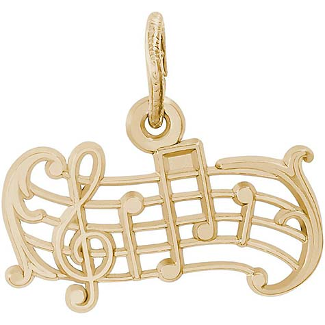 Gold Plated Music Staff Charm by Rembrandt Charms