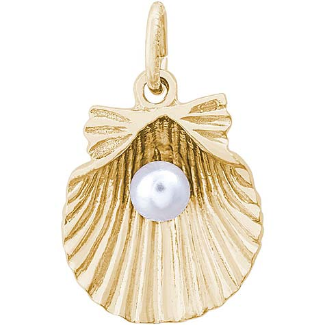 10K Gold Clamshell with Pearl Charm by Rembrandt Charms
