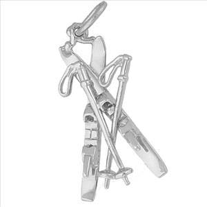 Sterling Silver Downhill Skis with Poles Charm by Rembrandt Charms