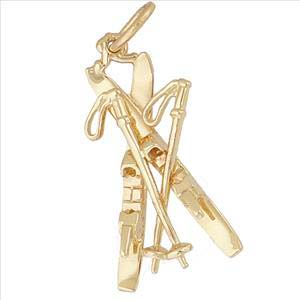 10K Gold Downhill Skis with Poles Charm by Rembrandt Charms