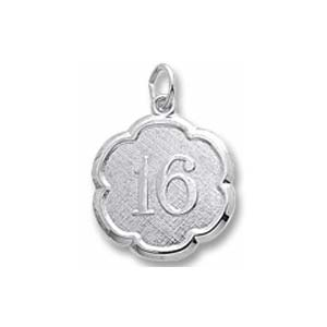 14K White Gold Number Sixteen Scalloped Charm by Rembrandt Charms