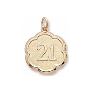 10K Gold Number 21 Scalloped Disc Charm by Rembrandt Charms