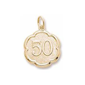 Gold Plate Number Fifty Scalloped Charm by Rembrandt Charms