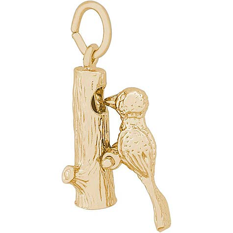 Gold Plate Woodpecker Bird Charm by Rembrandt Charms