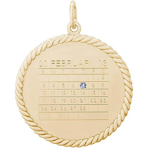 14K Gold Diamond Rope Calendar Charm by Rembrandt Charms