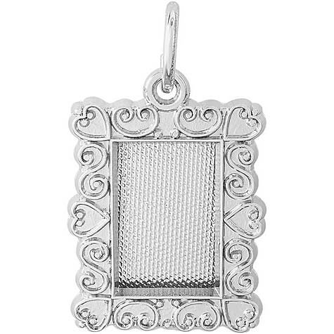 14K White Gold Scroll Pitcher Frame Charm by Rembrandt Charms