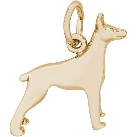Gold Plate Doberman Dog Charm by Rembrandt Charms