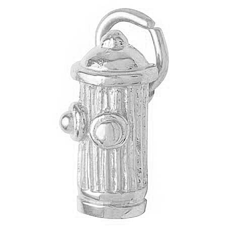 14K White Gold Fire Hydrant Accent Charm by Rembrandt Charms