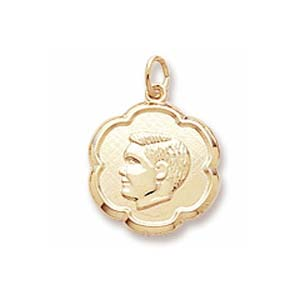 10K Gold Boy's Head Scalloped Disc Charm by Rembrandt Charms