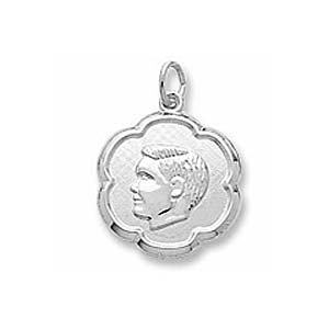 Sterling Silver Boy's Head Scalloped Disc Charm by Rembrandt Charms
