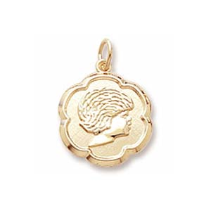 Gold Plate Girls Head Scalloped Disc Charm by Rembrandt Charms