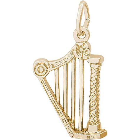 14K Gold Harp Charm by Rembrandt Charms