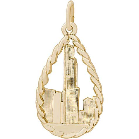 14K Gold Chicago Sears Tower Charm by Rembrandt Charms