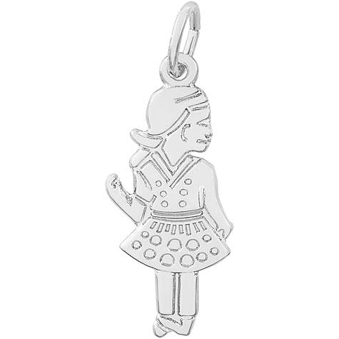 14k White Gold Waving Girl Charm by Rembrandt Charms