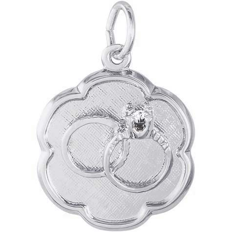 14K White Gold Wedding Rings Scalloped Disc by Rembrandt Charms