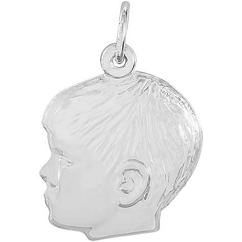 14K White Gold Young Boy's Head Charm by Rembrandt Charms