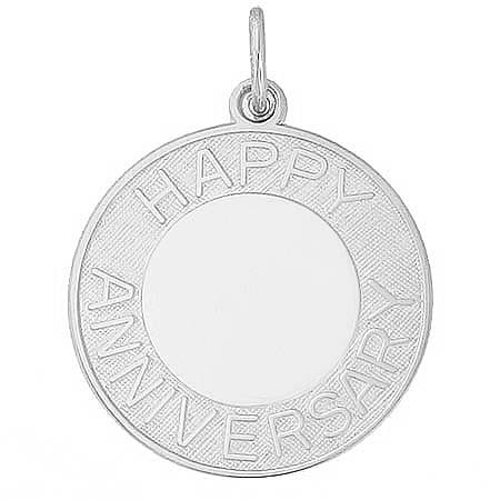 14K White Gold Happy Anniversary Disc Charm by Rembrandt Charms
