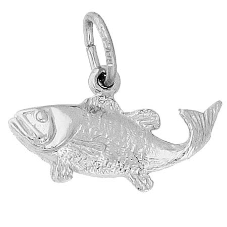 14K White Gold Bass Fish Charm by Rembrandt Charms